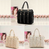 Fashion Women PU Leather Messenger Bag Tote Shoulder Bag Lace Handbag Pop