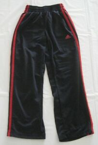 da39dbde Details about Adidas Boys Track Pants Black with Red Stripes Size S-8  Polyester 6004
