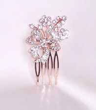 NEW SMALL ROSE PINK GOLD COLOUR  DIAMANTE BOW HAIR COMB GRIP WEDDING BRIDAL PROM