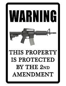 2nd Amendment Sign security sign Aluminum Hi Gloss No Rust Custom METAL Signs