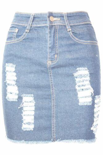 Femme Denim Vieilli Déchiré Taille Haute Raw Edge Extensible Mini Jupe