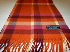 New 100% Cashmere Scarf Soft 72X12 Orange Off White Scotland Wool Check Plaid K6