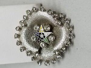 Beautiful Eastern Star Logo Silver Tone Pin with Rhinestones