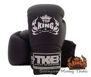 NWT-TOP-KING-Boxing-gloves-Solid-Black-TKBGSV-Muay-Thai-MMA-K1-Gloves-12-14-16