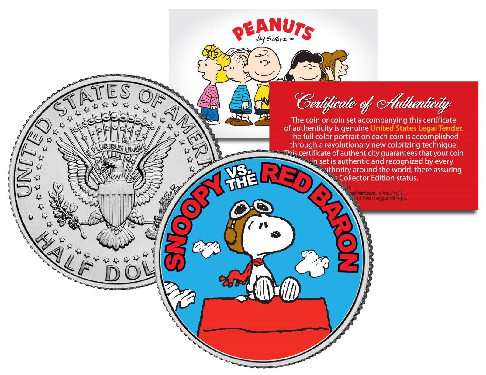 Coin with 4x6 Display RED BARON JFK Kennedy Half Dollar U.S Peanuts SNOOPY vs