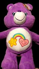 "CARE BEARS Jumbo 20"" Medium Purple BEST FRIENDS Friendship Soft Stuffed Toy RARE"