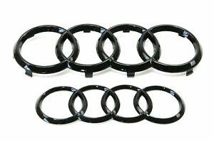Conjunto-de-brillo-negro-Insignia-de-la-parrilla-delantera-trasera-logo-emblema-Audi-Anillos-una