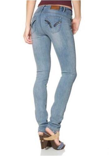 Arizona Jeans Röhre Stretch Denim Hüft Hose Blau Used Slim Fit NEU Kurz-Gr.18-22