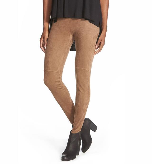 New LYSSE  Ultra CONTROL TOP Suede Faux Ultrasuede Leggings tan XL 16 18