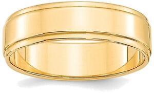 14k Gelbgold 6mm Flach Mit Step Rand Ehering Waren Des TäGlichen Bedarfs