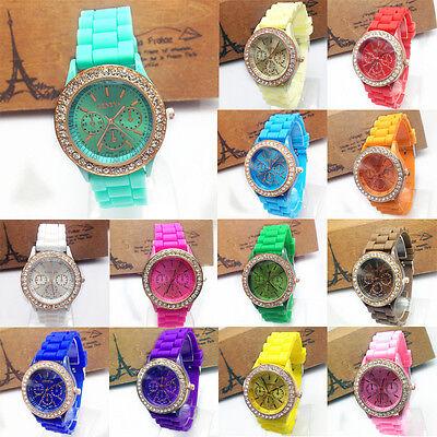 Women Gold Color Jelly Silicone Geneva Quartz Crystal Rhinestone Wrist Watch