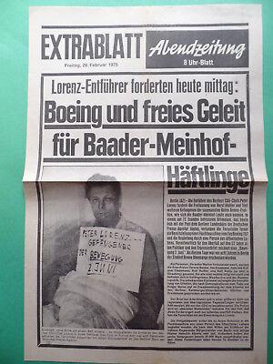 Hell Extrablatt 1975 - Raf - Entführung Peter Lorenz - Bewegung 2. Juni