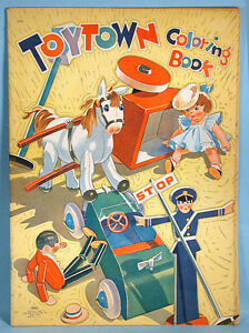Christmas Toytown Coloring Book Oversized Saalfield 1943 ...