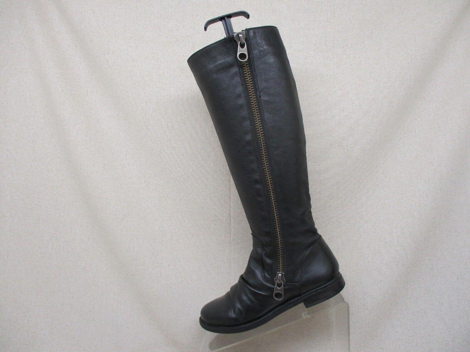 Steve Madden Black Leather Side Zip Knee High Fashion Boots Size 5.5 M - Linderr
