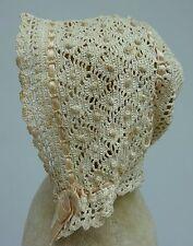 Gorgeous Antique Lace Silk Ribbon Baby Bonnet Dolls Handmade Cap Crochet