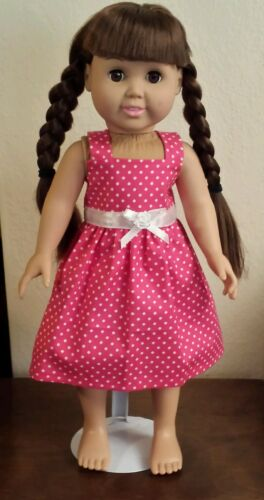 "Hot Pink Poke-a-Dots Sundress 18/"" doll American Girl sundress Handmade Dress"