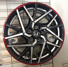 "Genuine OEM Honda Civic 18"" Black / Polished / Red Alloy Wheel  08W17-TEA-100A"