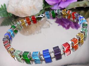 Design-Collier-Glas-Wuerfel-Regenbogen-Bunt-Wuerfelkette-Rot-Blau-Gruen-Orange