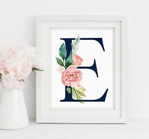 Oro Rosa Azul Marino Personalizado Monograma Guardería Arte impresión inicial Floral Rosa 618-A