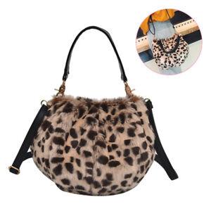 Women Leopard Print Shoulder Bag Fluffy Cross Body Change ...