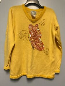 Quacker Factory Size Small Yellow Sweater Butterfly Design V