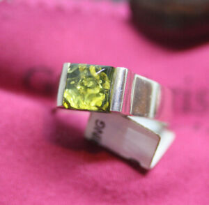Sterling-Silver-3-CT-Natural-Yellowish-Green-Amber-Finland-Design-Ring-Sz-8-5