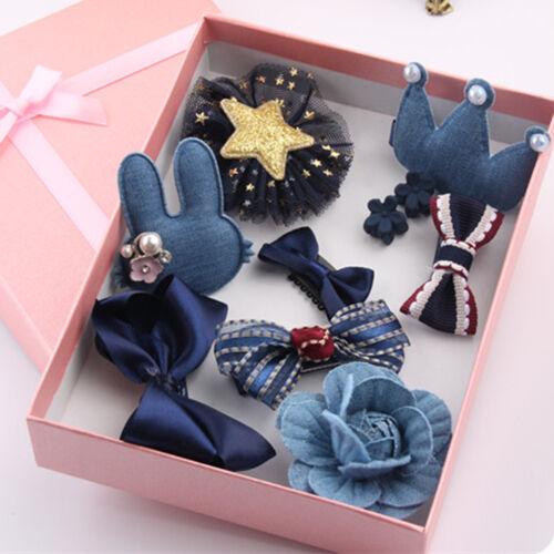 10Pcs Kids Toddler Hairpin Baby Girls Cartoon Princess Moti Hair Clip Set L