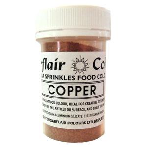 COPPER-Sugarflair-Edible-Sugar-Sprinkles-Food-Colour-Colouring-Cake-Decorating