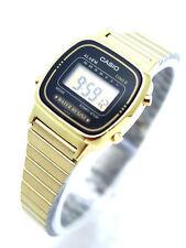 Casio Ladies Digital Watch Gold Band La670wga-1- Black Dial La670wg La670