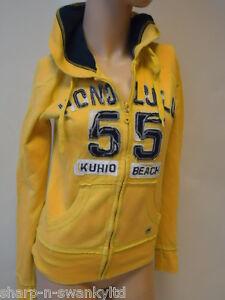 NEW-LOOK-Ladies-Yellow-Blue-Zip-Through-Hoodie-Hooded-Jacket-Top-UK-8-EU-36