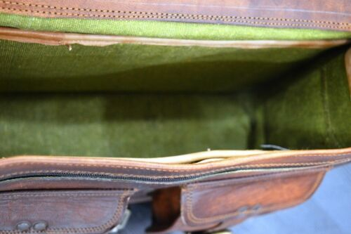 "19/"" Men/'s Genuine Vintage Leather Messenger Bag Shoulder Laptop Bag Briefcase"