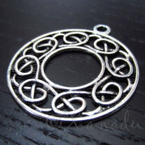 5 Or 10PCs Celtic Ring 36mm Antiqued Silver Plated Charm Pendants C4106-2