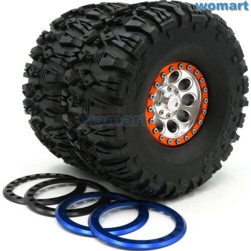 2Stk RC 2.2 Crawler Reifen Tires 135mm /& Alloy 2.2 Beadlock Felgen 3 Farbe Ring