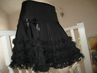 New Unique Long Black Lace frilly Skirt Party Gothic Rock dance Boho Hippy Gift