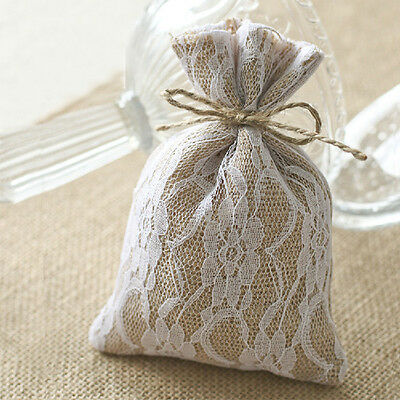 10pcs Wedding Natural Hessian Lace Burlap Rustic Candy Bag Jewelry Bags 10*15cm
