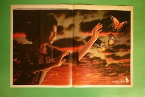 1982-RARE-Original-Advertising-039-American-SINGAPORE-AIRLINES-girl-butterflies