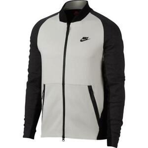 556f0cd2f844 Nike Tech Fleece Varsity Jacket Mens 886617-091 Light Bone Black ...