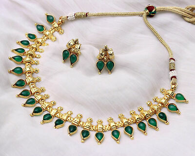 Ethnic Indian Jewelry Gold Plated Green Stone Choker Earrings Traditional Set Ebay