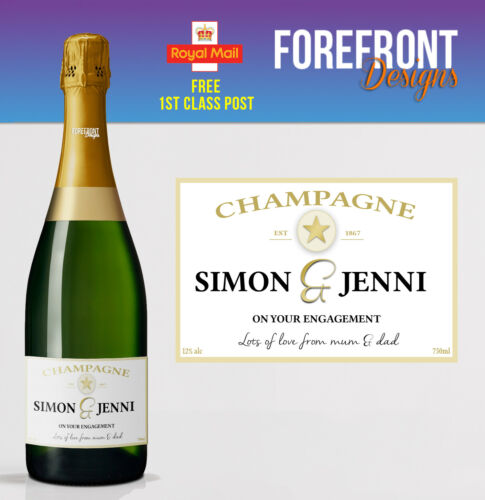 Personalised Champagne bottle label Perfect Birthday//Wedding//Engagement gift