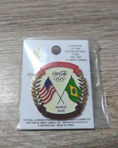 Coca Cola USA and Brazil Flag Always Welcome Olympic Sponsor Enamel Lapel Pin
