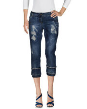Nearly Adele Fado Women Destroyed Ripped Jeans Trousers Capri Pants Italy