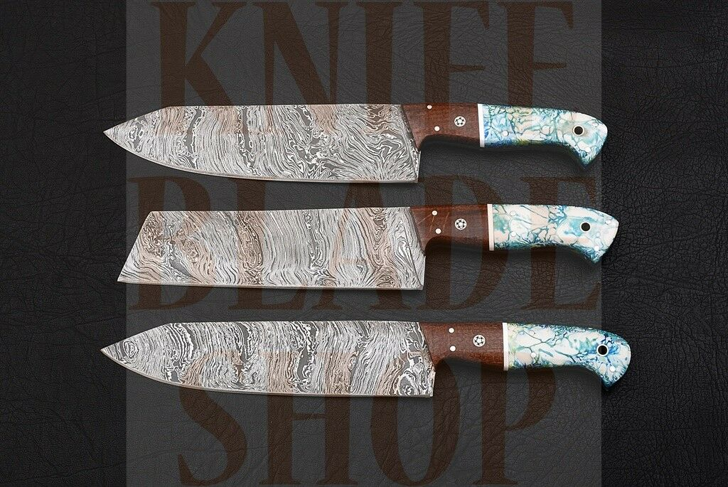 Damascus steel  PROFESSIONAL'S CHEF KNIFE SET (3 PIECE) synthetic synthetic synthetic RESIN handle 837c76