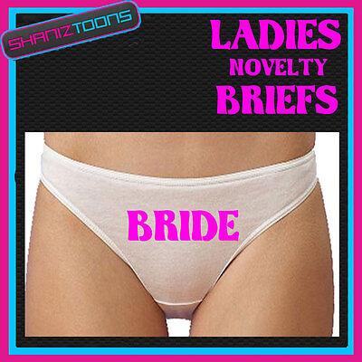 LADIES KNICKERS BRIEFS PERSONALISED WEDDING HEN PARTY NIGHT NOVELTY GIFT