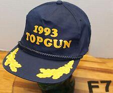 VINTAGE 1993 TOP GUN HAT DARK BLUE SNAPBACK EMBROIDERED GOLDLEAF GOOD COND F7