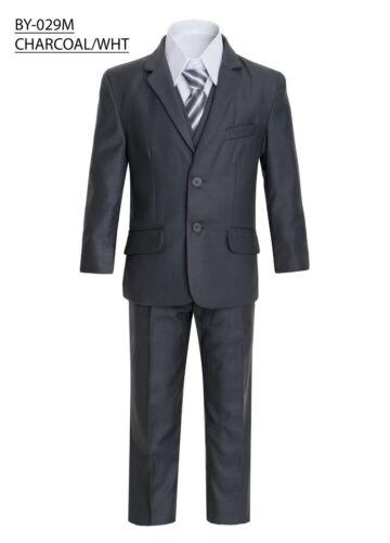 Magen Kids Boys SLIM FITFormal Bridal 5 Pc Set Suit S2-20 Charcoal 2 Buttons 29
