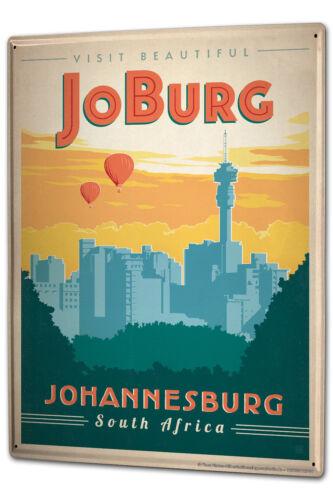 Tin Sign XXL Retro Art Metropole  Johannesburg South Africa Skyline JoBurg