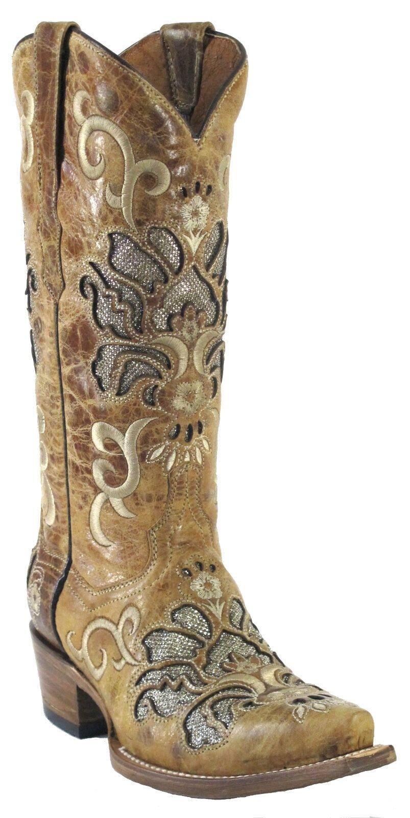 spedizione gratuita Donna  New Overlay  Distressed Leather Cowgirl Western stivali stivali stivali Snip Sand  punto vendita
