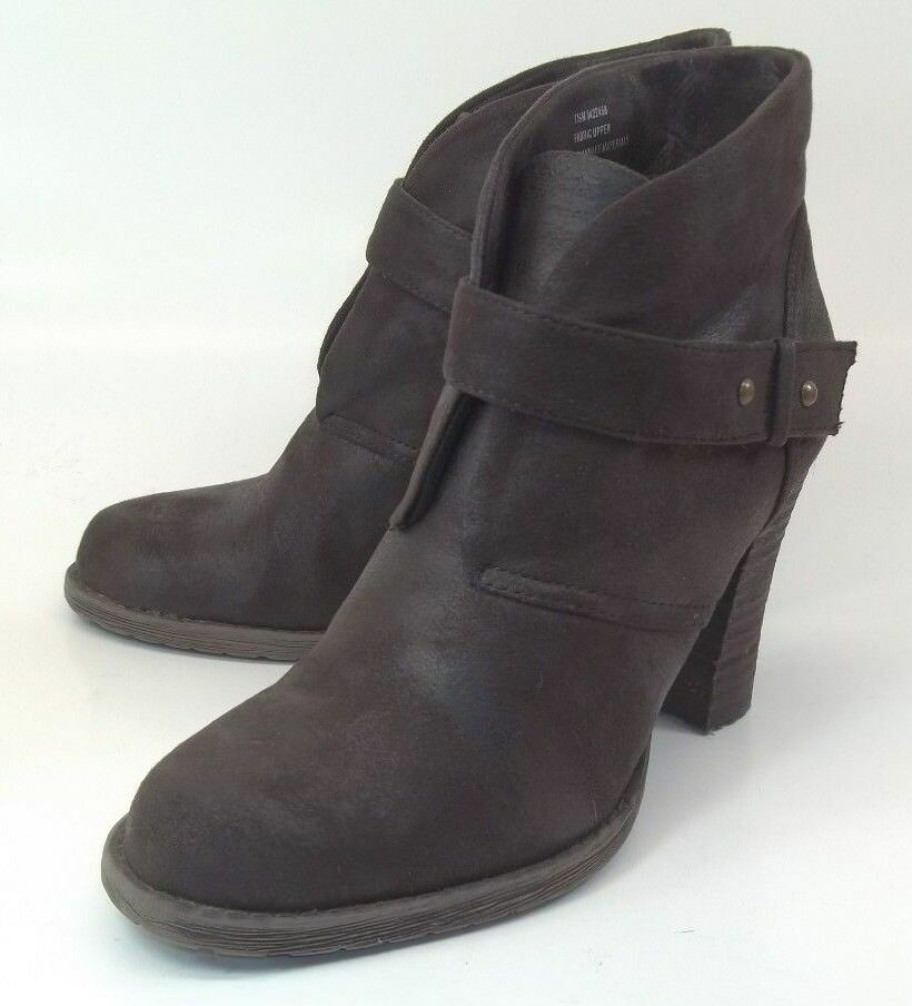 Crown Vintage Wos Ankle Boots Booties US7.5M Brown Hook Loop Strap Heels 2714