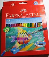 FABER-CASTELL Assorted 24/48Colors Water Color Pencils Drawing+Brush