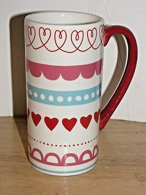 """Romantic Mug Covered With Hearts 6"""" Tall Holds 16 Oz. Liquid Pink and White"""